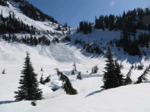 From the Home Sweet Home meadow, looking back up to First Divide